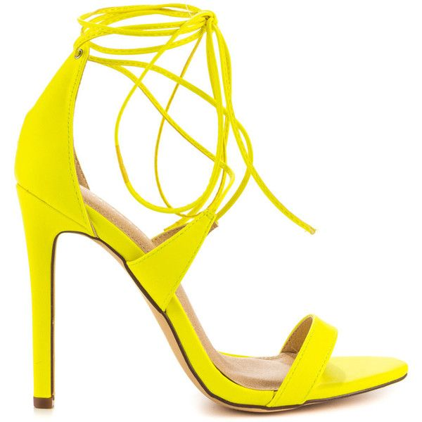 Liliana Women's Flight - Neon Yellow ($50) ❤ liked on Polyvore featuring shoes, sandals, yellow, lace up shoes, yellow shoes, sexy high heel shoes, fluorescent yellow shoes and vegan footwear