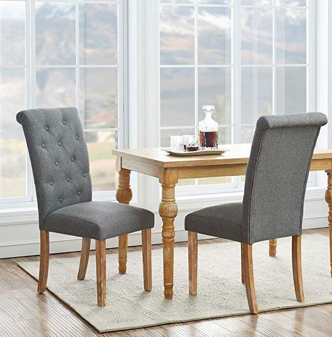 O K Furniture Solid Wood Tufted Dining Chairs Fabric Dining Room Chair Set With Arched Backrest Design Farmhouse Dining Chairs Farmhouse Dining Dining Chairs