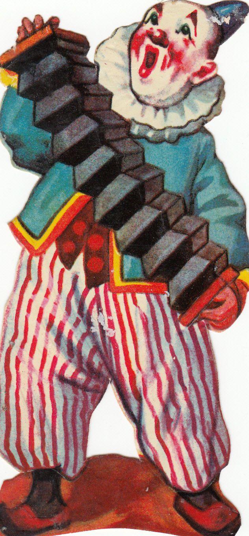 Vintage Die Cut Chromo Scrap Circus Clown Costume Harmonica Accordion Wind Box | eBay