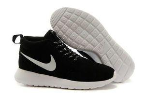 chaussures nike roshe run anti-fur Mid homme (noir/blanc/blanc logo) pas cher en ligne en france.