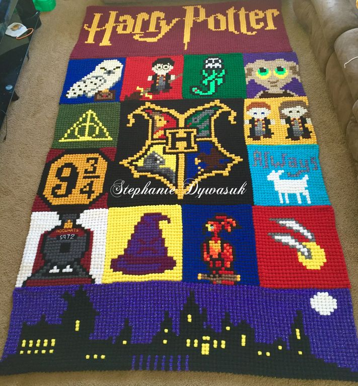 Amazing Harry Potter crochet blanket  https://www.reddit.com/r/crochet/comments/4qa74y/after_253_hours_over_a_span_of_7_months_and_33000/