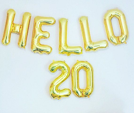 HELLO 20 Balloons 20th Birthday 20th Anniversary by girlygifts07