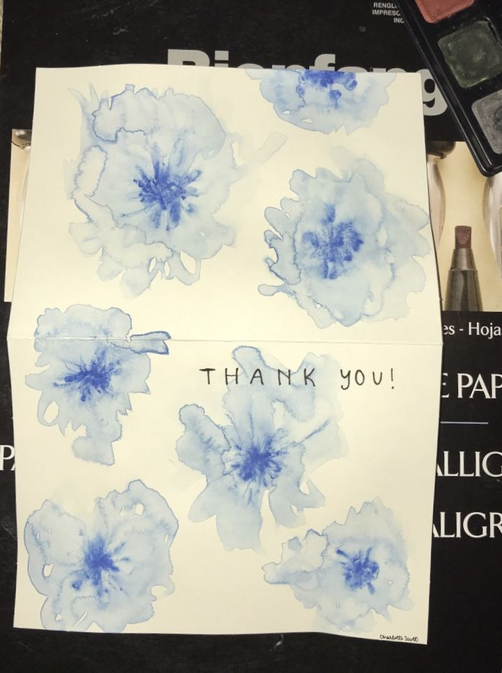A Watercolor Blue Flower Calligraphy Thank You Card Diy