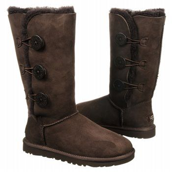 Women's UGG Bailey Button Triplet Chocolate Shoes.com