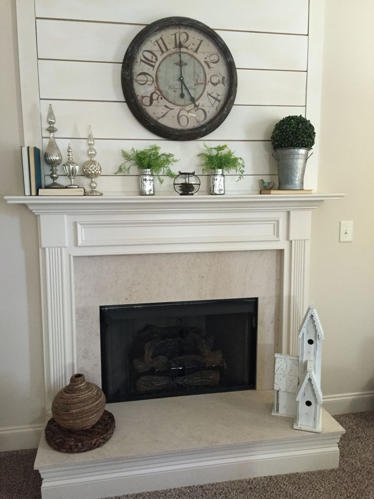 Diy shiplap fireplace. This gave a builder grade fireplace a fresh new look
