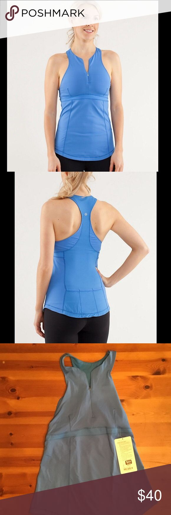 Lululemon Zippy Run Tank Great blue workout tank.  Zips up the front and has pockets in the back.The stock photos show the color best. lululemon athletica Tops Tank Tops