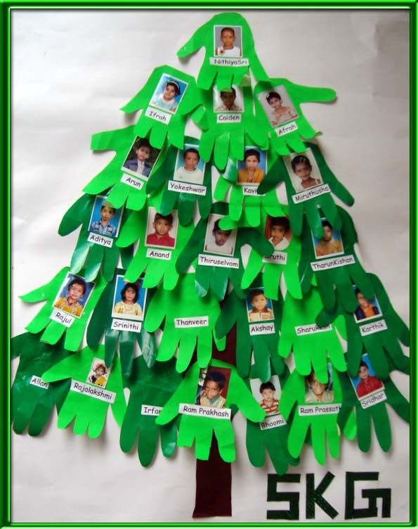 Handprint & photo Christmas tree. Make this just with names for the hallway.