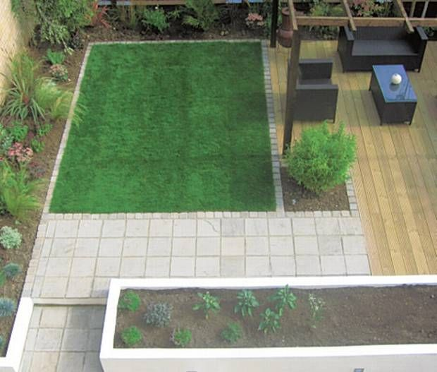 Lawn squares and search on pinterest for Small garden design ideas with lawn