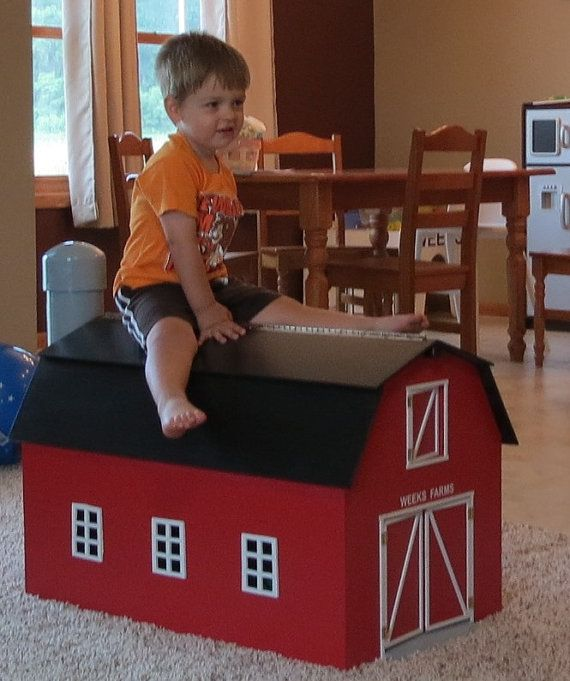 RED Wooden Toy Barn with attached Silo | Toy barn, Wooden