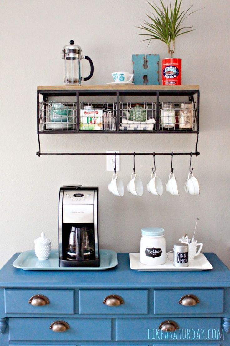blue dresser coffee counter with mugs and coffee machine