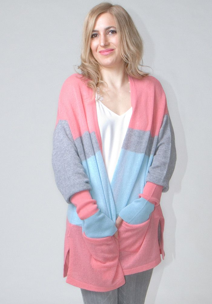 Light Weight Open Cardigan with Stripes #cashmere #boutique #shopping #womenswear #style #fashion #ss2016 #spring #summer #sweater #stripes #thecashmereshop #pink #cardigan #pastel #blue #grey