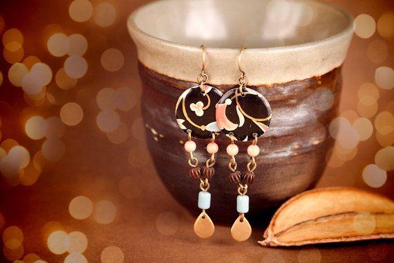 Bohemian Earrings, Pink Earrings, Blue Earrings, Boho Earrings, Mixed Metal Jewelry, Tin Jewelry, Tin Earrings, Handmade Earrings