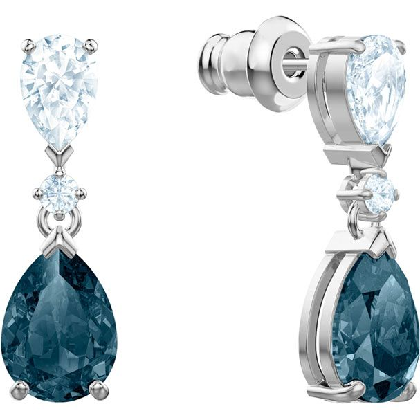 2fe282772 Vintage Pierced Earrings, Blue, Rhodium plating - Swarovski, 5452579