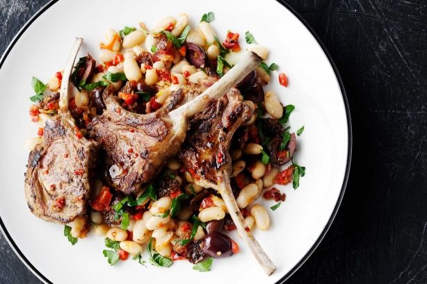 Orange & chilli lamb cutlets with warm white bean salad