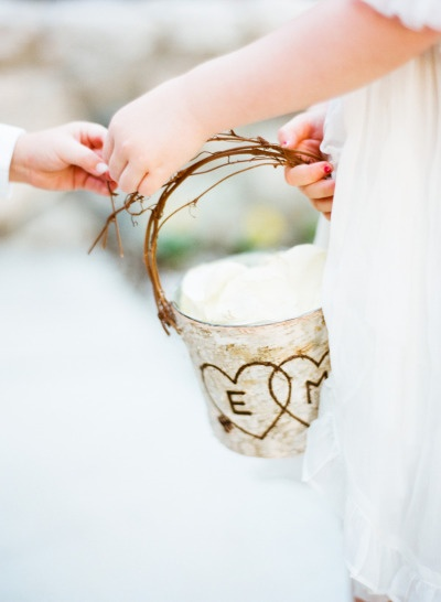 Birch-bark covered bucket for petals - La Quinta Golf Club Wedding from Amy & Stuart Photography + Pryor Events