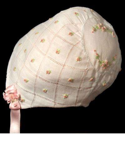 Charlotte Rose drawn thread bonnet
