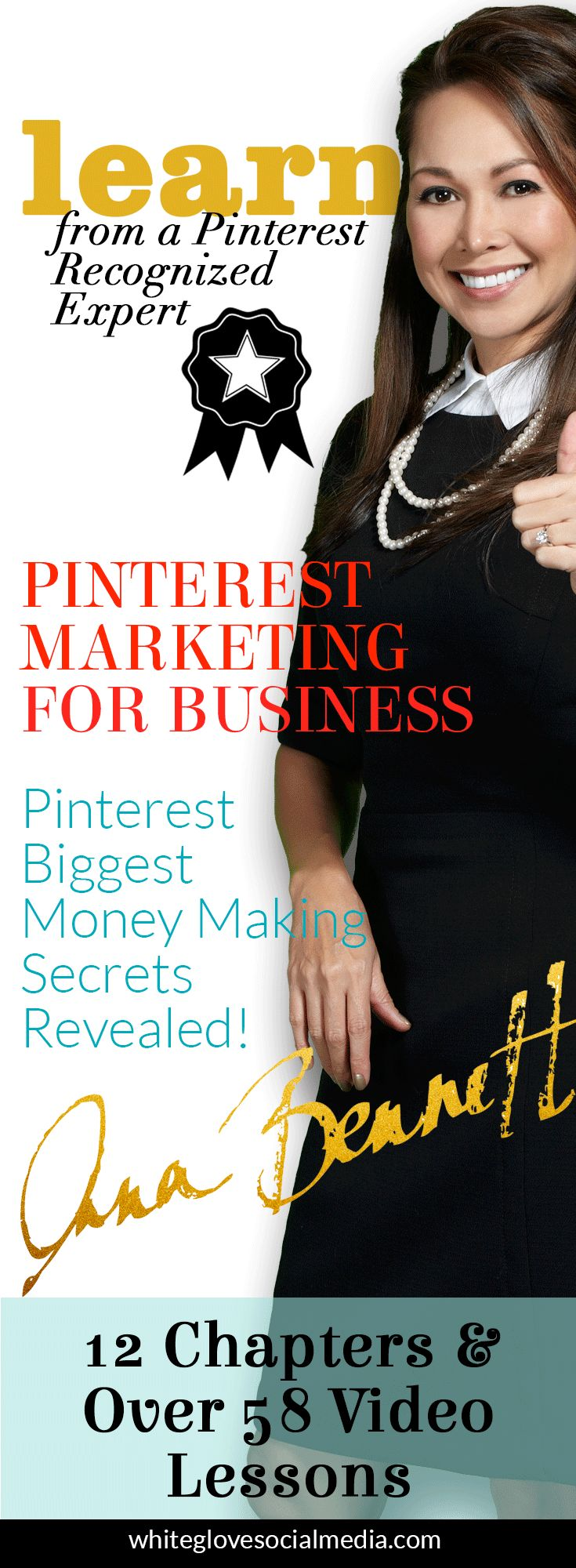 "Pinterest marketing expert Anna Bennett says ""I've brought all of the best, need-to-know education, tactics, latest & greatest Pinterest insights and more together in one product."" CLICK here to learn more http://www.whiteglovesocialmedia.com/pinterest-marketing-for-business/"