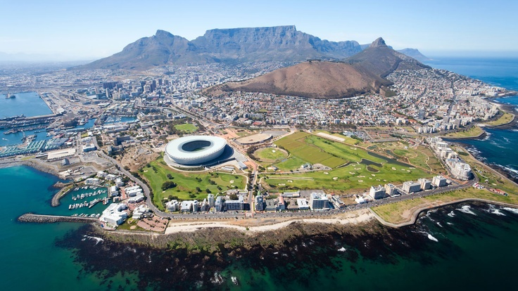 View of Green Point Stadium and Table Top mountain