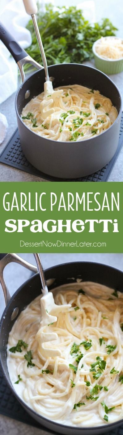 This Garlic Parmesan Spaghetti has browned butter and garlic in its thick and creamy parmesan sauce, for a super flavorful pasta dinner that will have you licking the plate clean.