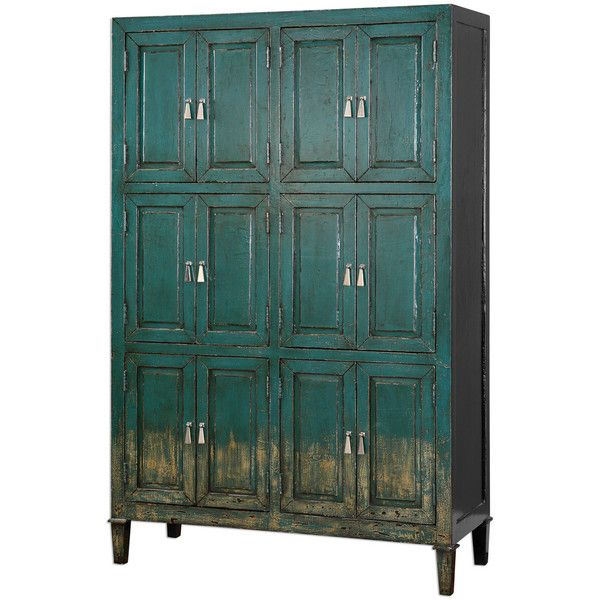 Aged Teal Storage Cabinet (£1,540) ❤ liked on Polyvore featuring home, furniture, storage & shelves, cabinets, cabinet, home decor, distressed cabinets, storage cabinets, antiqued furniture and distressed furniture