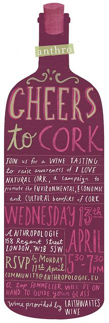 illustration for danielle kroll for a wine tasting event that took place in one of Anthropologie's UK stores