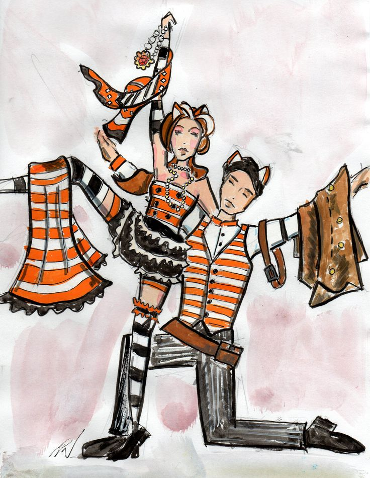 Mungojerrie and Rumpleteaser concept drawing  by Trish Chamberlain for Blue Mountains Musical Society production of Cats