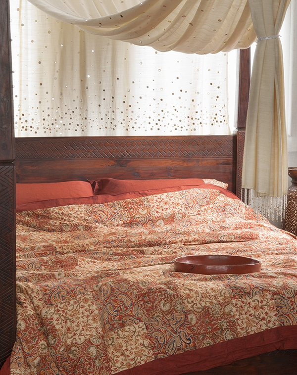 Natural Bed Company - Kalamkari Gold Duvet Cover. This warm, traditional duvet cover incorporates tones of terracotta, burnt sienna and deep cream. The bedding is shown on our kutch four-poster bed. All available from www.naturalbedcompany.co.uk. Feel free to pin!