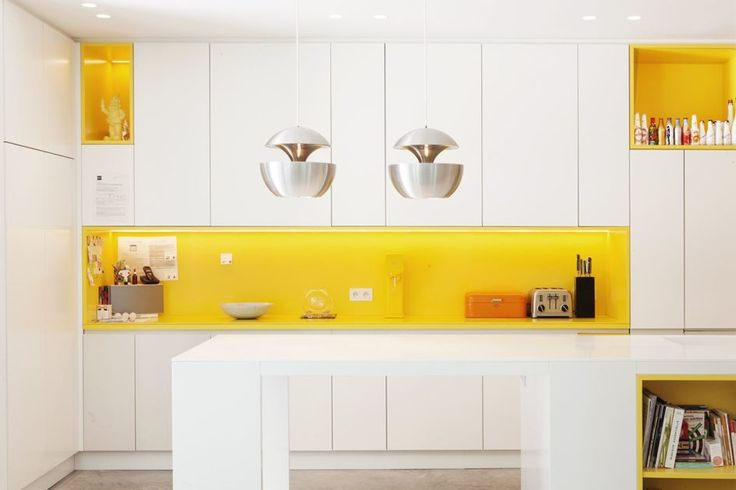 Kitchen Yellow Accent Kitchen Features White Kitchen Cabinet With Bright Yellow Backsplash And Countertop Also Yellow Open Shelving Plus Led Apple Shaped Pendant Lights Besides Recessed Lights And Cutlery Set With Toaster Also White Island Built In Shelf Fantastic Yellow Accent Kitchens That Really Shine
