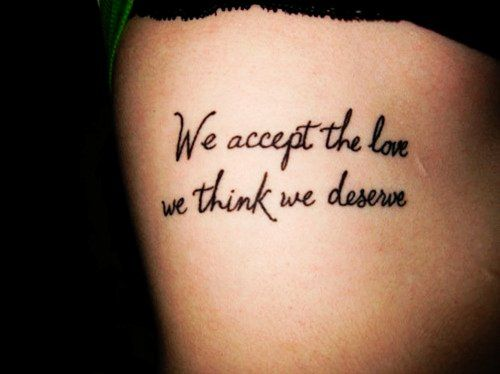 Meaningful Side Rib Quote Tattoos for Girls - Hot Black Rib Quote Tattoos for Girls