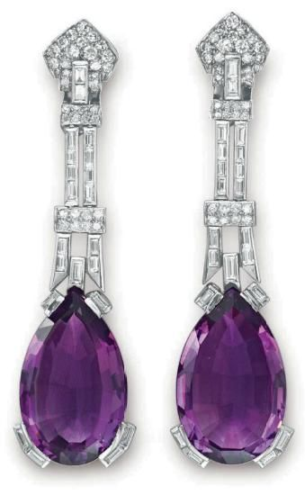 Amethyst Earrings, 1930 Christie's.