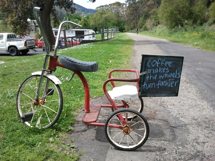 Taken outside the Cog Bike Cafe, on the Warby Trail