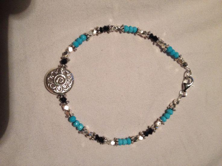 Sterling silver, turquoise and black Swarovski crystal bracelet