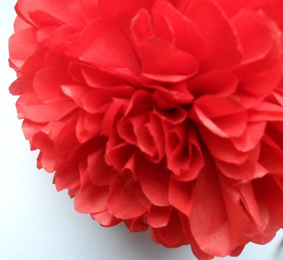 1 Red Tissue Paper Pom Pom  Wedding Decoration  by PaperPomPoms
