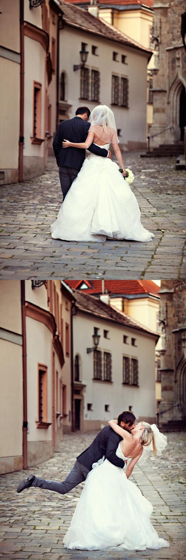beautiful wedding couple walking in old town #prague #travel #wedding