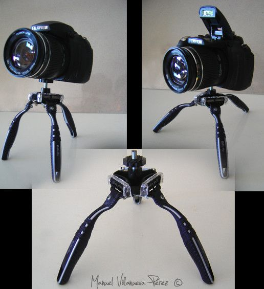 I made a tripod with disposable razors Gillette. It has a lot of stability it is articulated and it works!