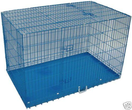 42' 3 Door Blue Folding Dog Crate Cage Kennel N/DIVIDER *** Awesome dog product. Click the image : Dog kennels