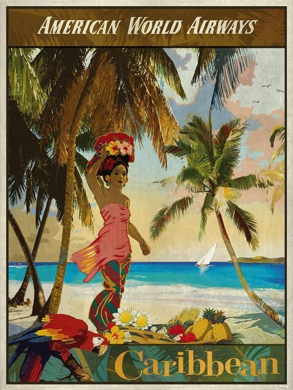 Vintage Travel Caribbean Giclee Print by The Portmanteau Collection, 46 x 61cm