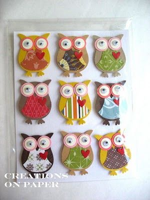 Stampin Up: Owl Builder Punch. Lots made with googly eyes!