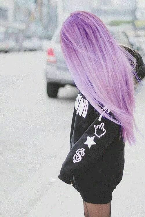 Violet hair - Old woman retiree has decided to not be a silver fox, but instead a Unique Unicorn.