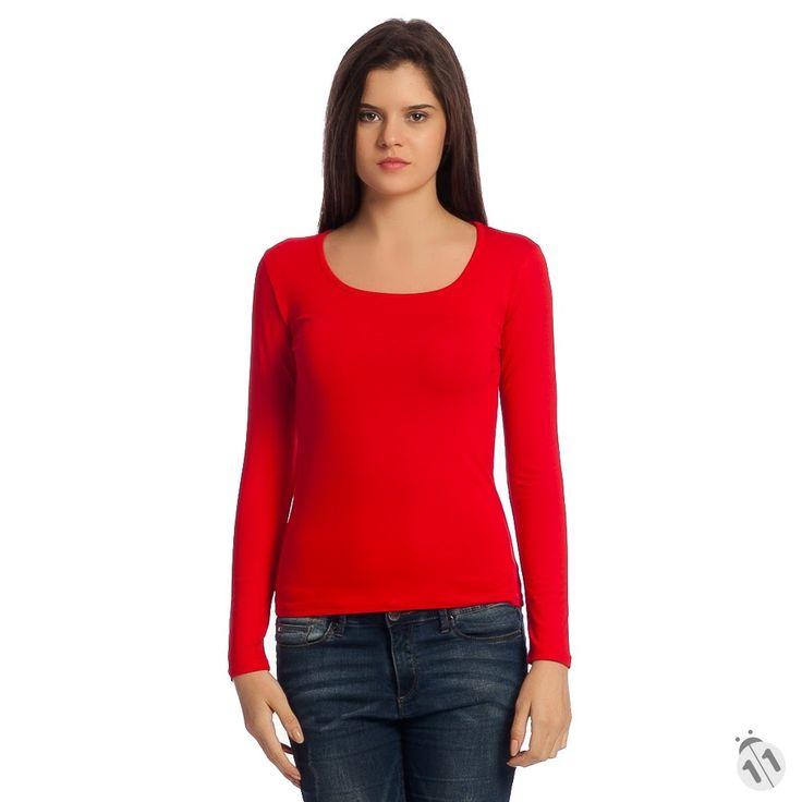 kırmızı basic kadın tişört satın al uzun kollu