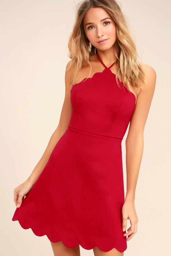 0274b0860e99 Lulus Exclusive! The Your Everything Red Backless Skater Dress is all that  you ve been dreaming of and so much more! Adjustable spaghetti straps  support a ...