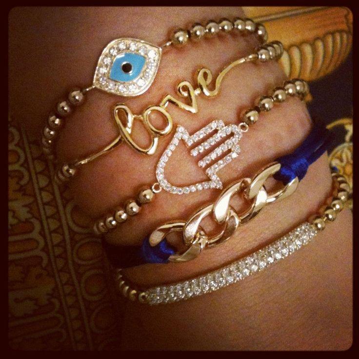 blue hamsa love set: Bracelet Set, Hamsa Evil, Bracelet Charms, Charm Bracelets, Kellyzek Jewelry, Evil Eye