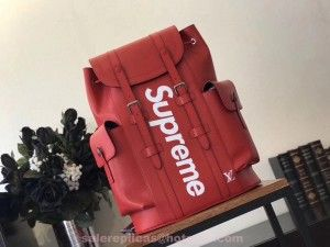 Replica Louis Vuitton Supreme Christopher Backpack – Red epi Leather ... 8c11179324a29
