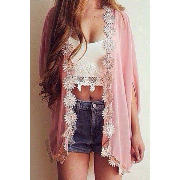 Wholesale Stylish 3/4 Sleeve Laciness Chiffon Kimono Women's Cardigan Only $4.99 Drop Shipping | TrendsGal.com