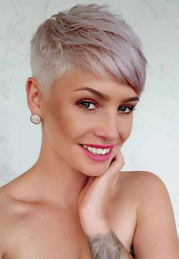 Short white pixie haircut, undercut pixie haircut,…