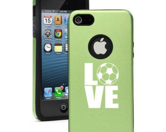 For Apple iPhone 4 4s 5 5s 5c Dual Layer Aluminum Silicone Hard Case Cover Black Blue Red Green Silver Pink Purple Love Soccer