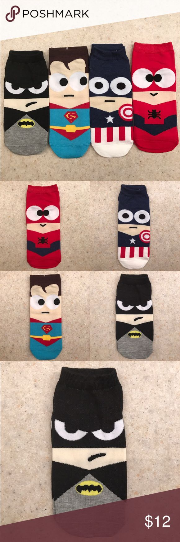 ❣️ALL 4 UNISEX SUPERHERO HARAJUKU SOCKS❣️ ❣️COOL UNISEX HARAJUKU SUPERHERO SOCKS❣️PRICE IS FRIM❣️15%OFF WHEN YOU BUNDLE❣️   BATMAN SUPERMAN SPIDERMAN CAPTIN AMERICA  Material:Cotton Gender:Unisex US Size:5.5-10 Thickness: Standard  Brand Name:Jeseca Underwear & Socks Casual Socks