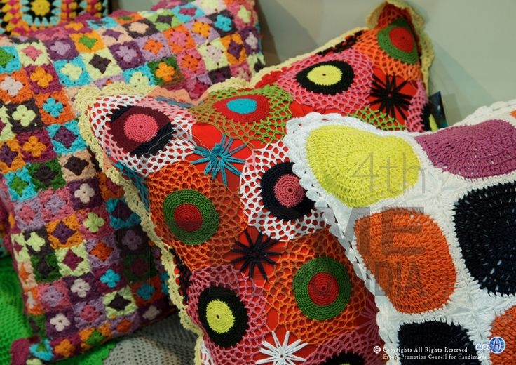 Madeups in colourful motif & pattern crotchet craft at The Home Expo India, 2015 #homeexpo #hometextiles