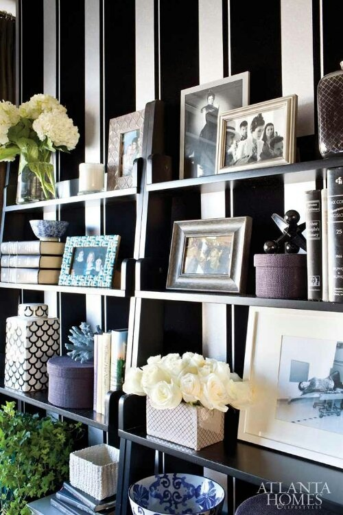 Bold black and silver wallpaper with cobalt blue accessories living room pinterest - Blue home decor accessories ...