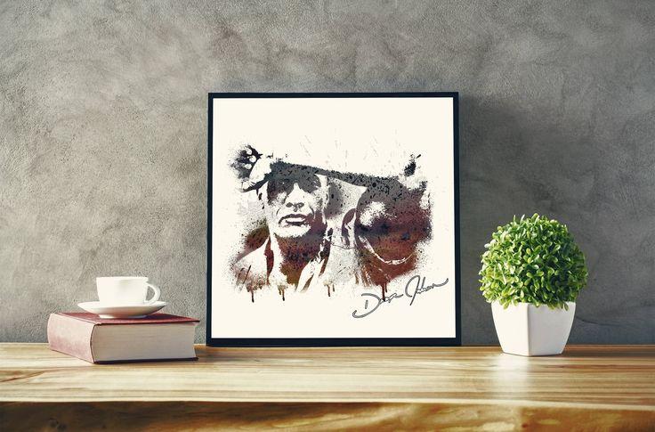 Dwayne Johnson, the rock, artwork, wall art, digital wall art, dwayne johnson printable by DigitalCraftingShop on Etsy